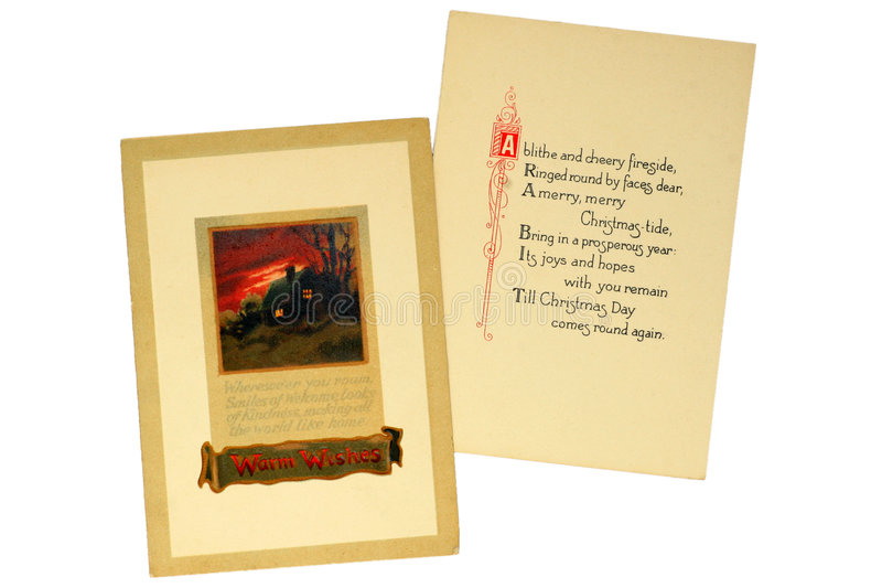 Vintage Christmas Card. This early Christmas card was printed in 1917 royalty free stock images
