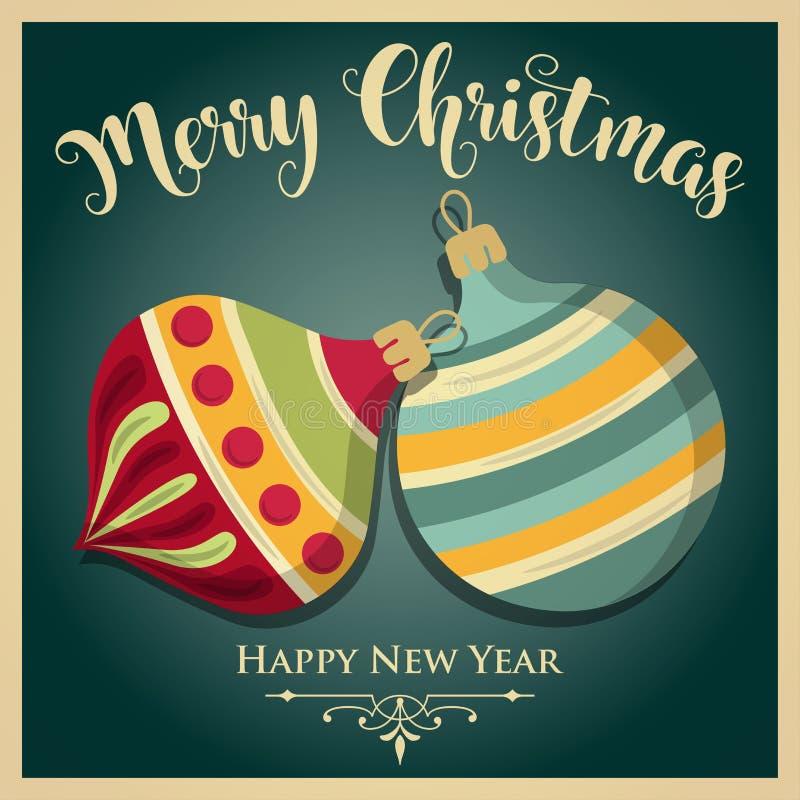 Vintage Christmas card with Christmas balls stock illustration