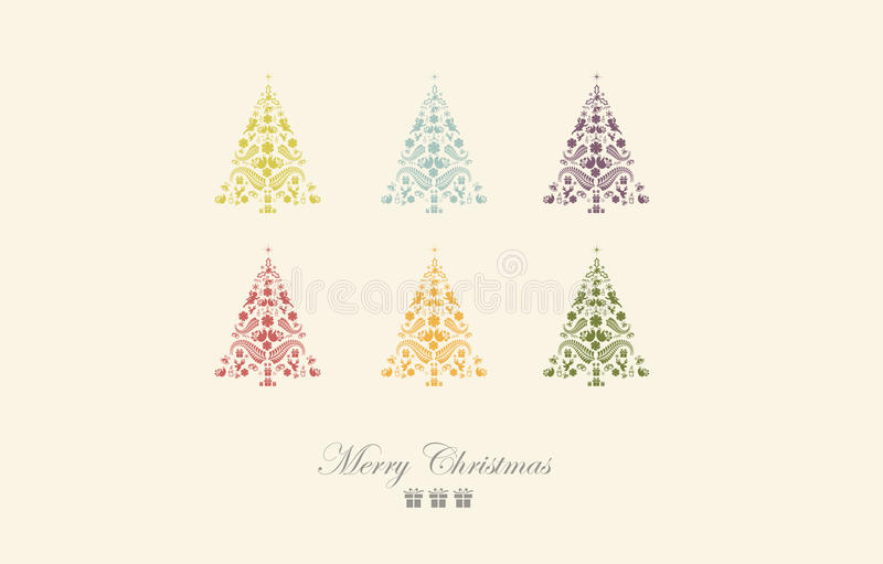 Download Vintage Christmas Card Beautiful Tree Illustration Stock Vector