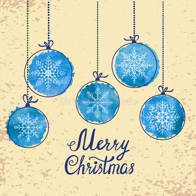 Vintage Christmas card with blue watercolor balls stock illustration