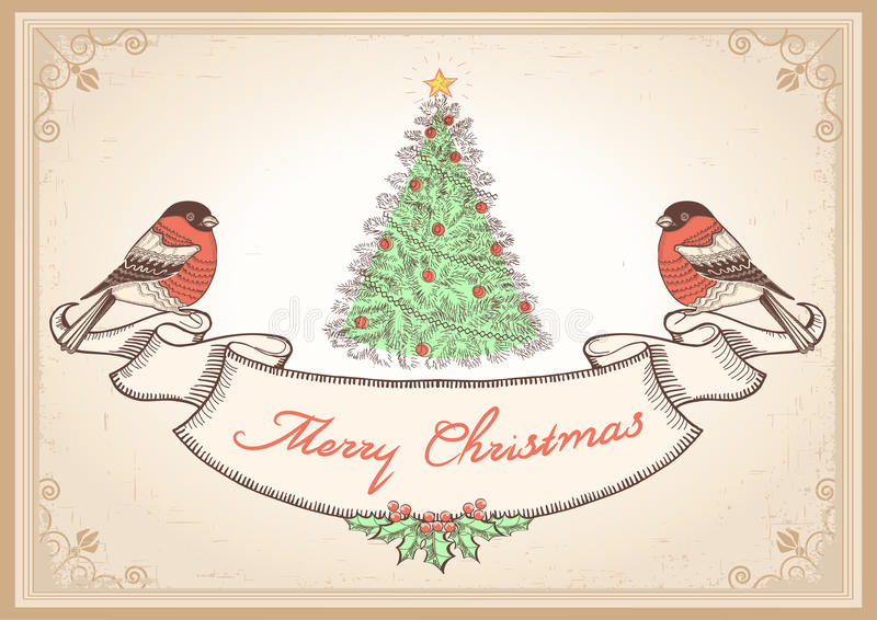 Vintage Christmas card with bullfinches.Vector ill vector illustration