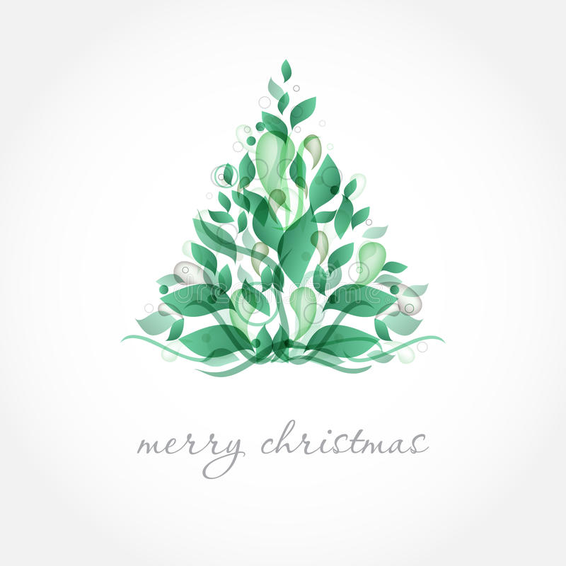 Vintage christmas card with holiday tree on the fl royalty free stock image