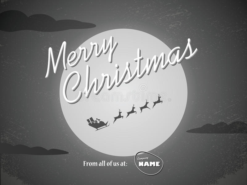 Vintage christmas card template. Classic hollywood royalty free illustration
