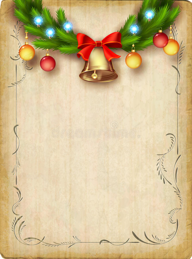 Vintage Vector Card With Christmas Tree Garland Bells Ornaments Lights Decorative Border Frame