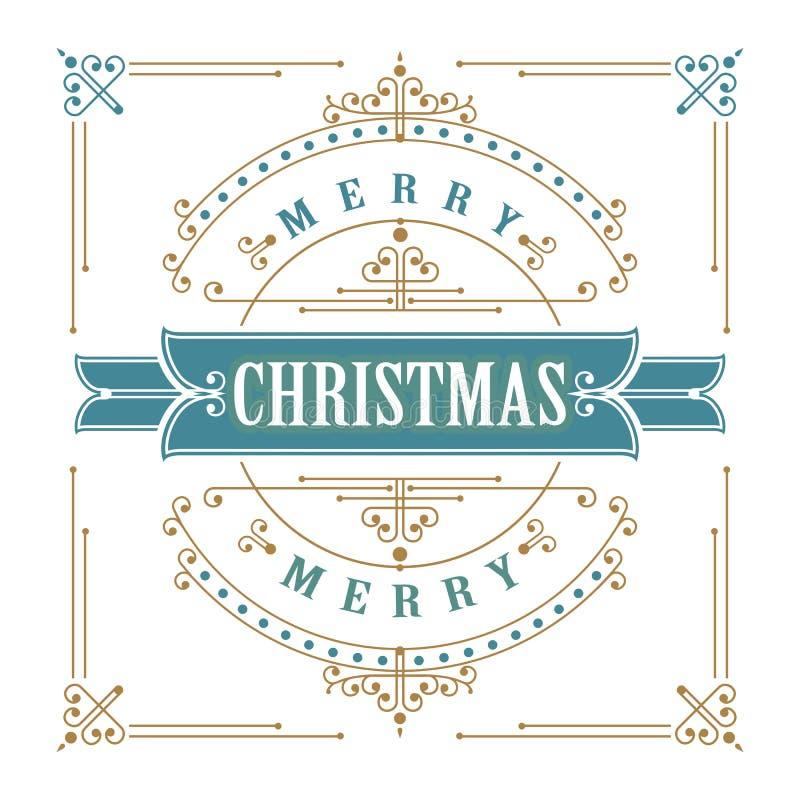 Vintage Christmas card vector illustration