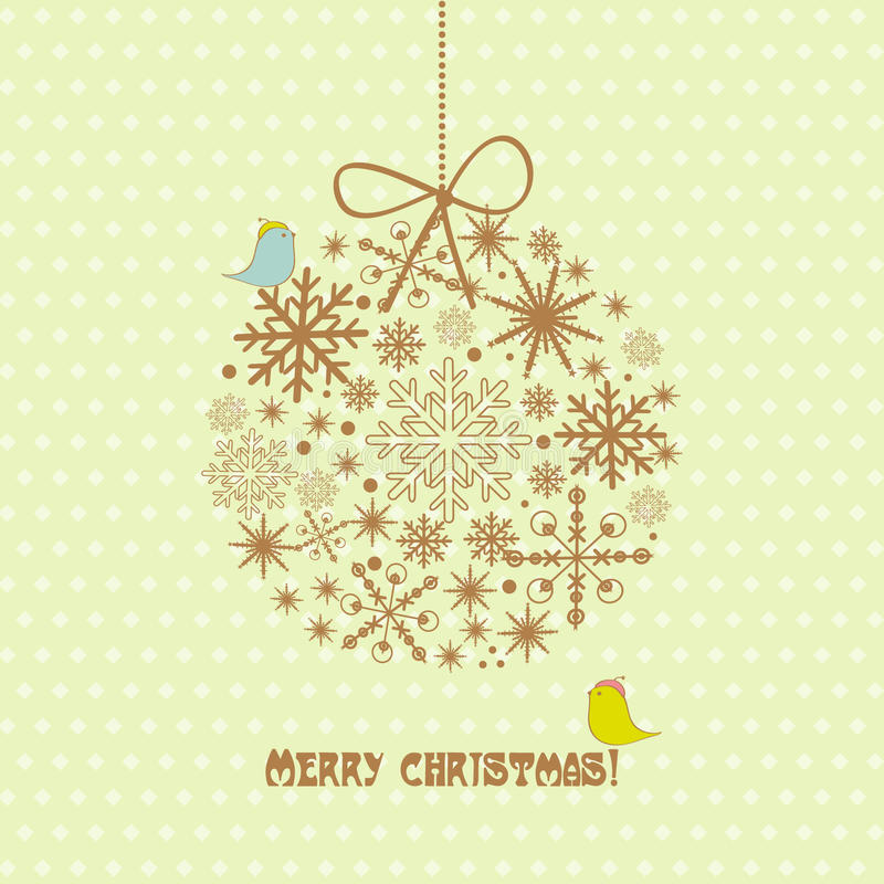 Free Vintage Christmas Card With Ball, Snowflakes Royalty Free Stock Image - 21940016