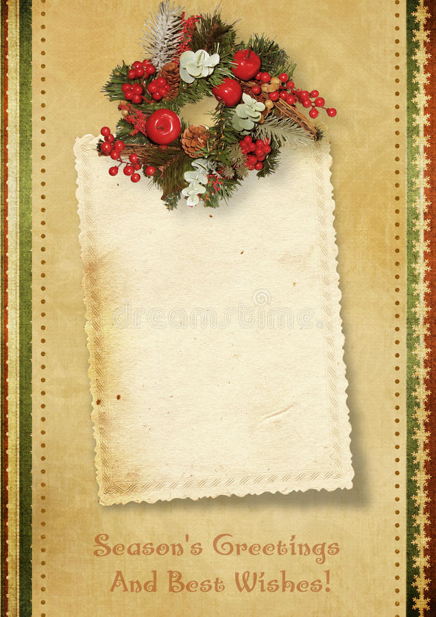 Free Vintage Christmas Card With The Wishes Stock Photography - 21696272