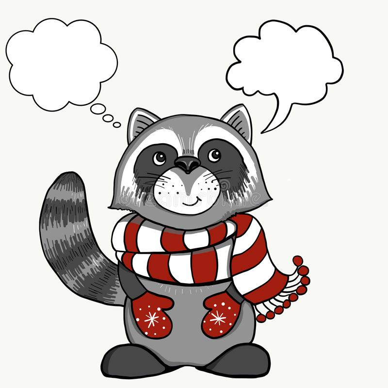 Vintage Christmas cards. Cute smiling raccoon in a red white stripe skarf. Winter holidays vector illustration. royalty free stock image