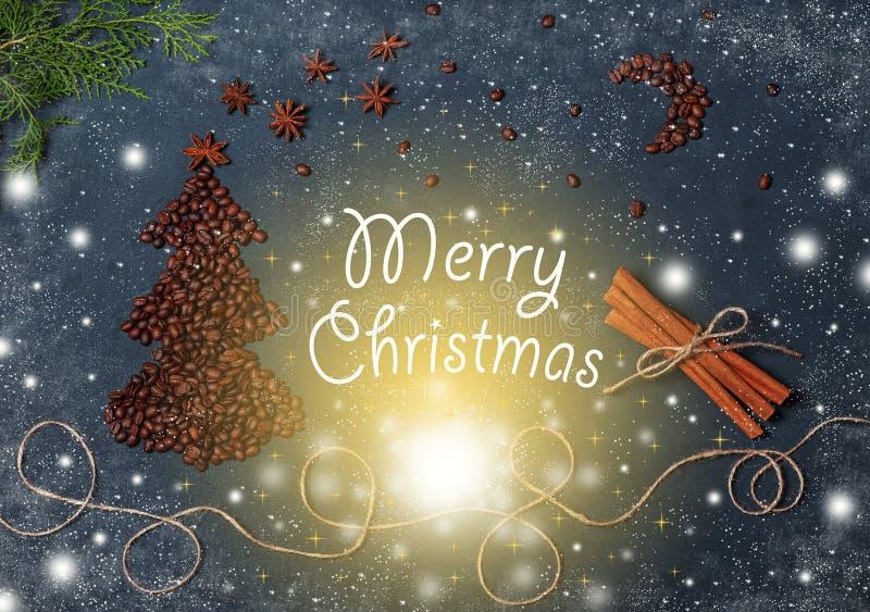 Vintage Christmas composition with Coffee beans Christmas Tree Magic Sky Snowflakes Fir Tree Cinnamon Stars and lights. Christmas vector illustration