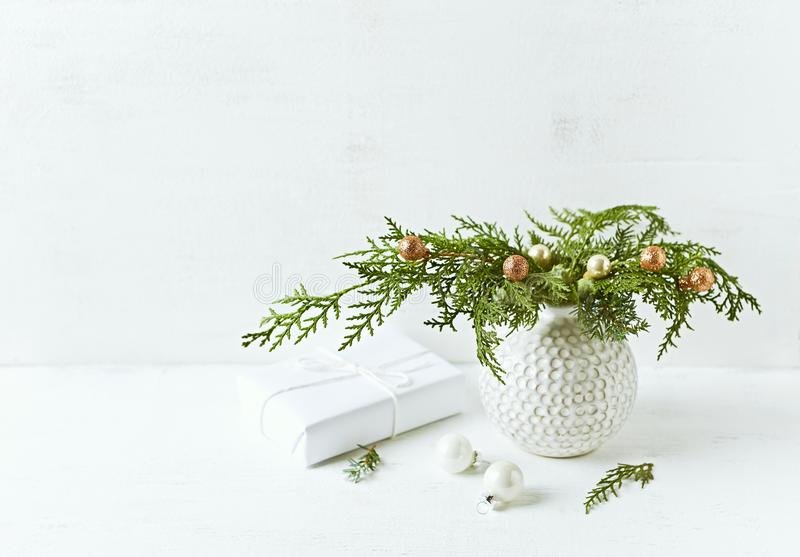 Vintage Christmas decoration made from natural evergreen twigs. Copy space stock images
