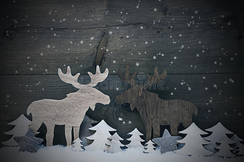 Vintage Christmas Decoration, Moose Couple In Love, Snowflakes. Gray Vintage Christmas Card Or Decoration, Moose Couple In Love On White Snow And Christmas Tree stock photos