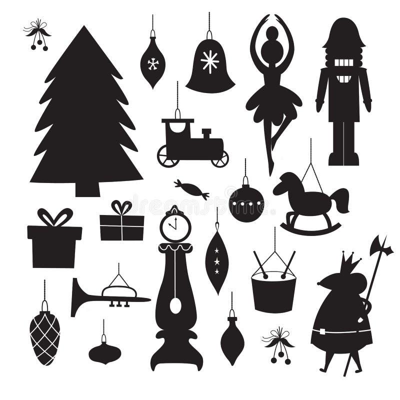 Vintage Christmas decoration and ornament black silhouette set 皇族释放例证