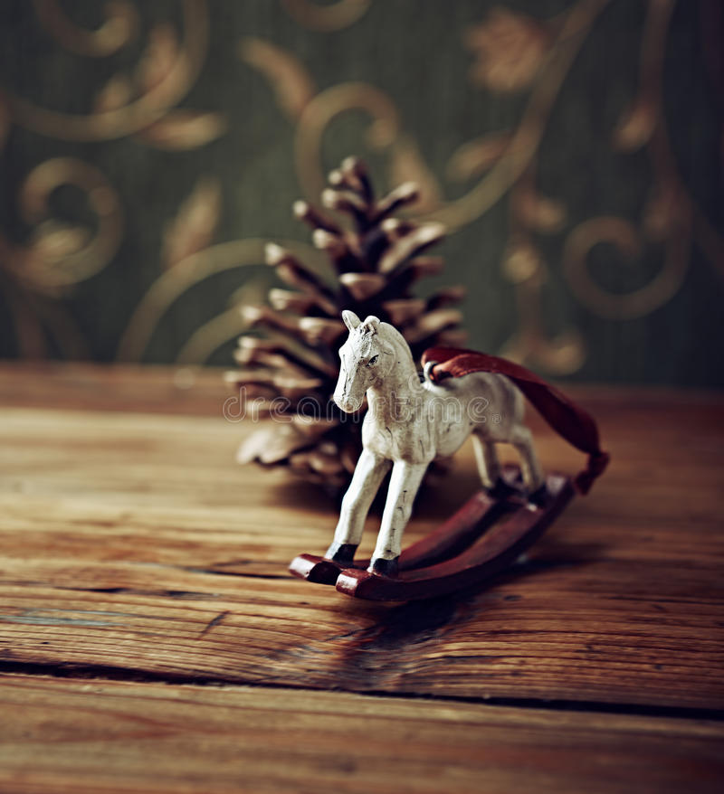 Vintage Christmas Decoration. On Wooden Surface stock photography