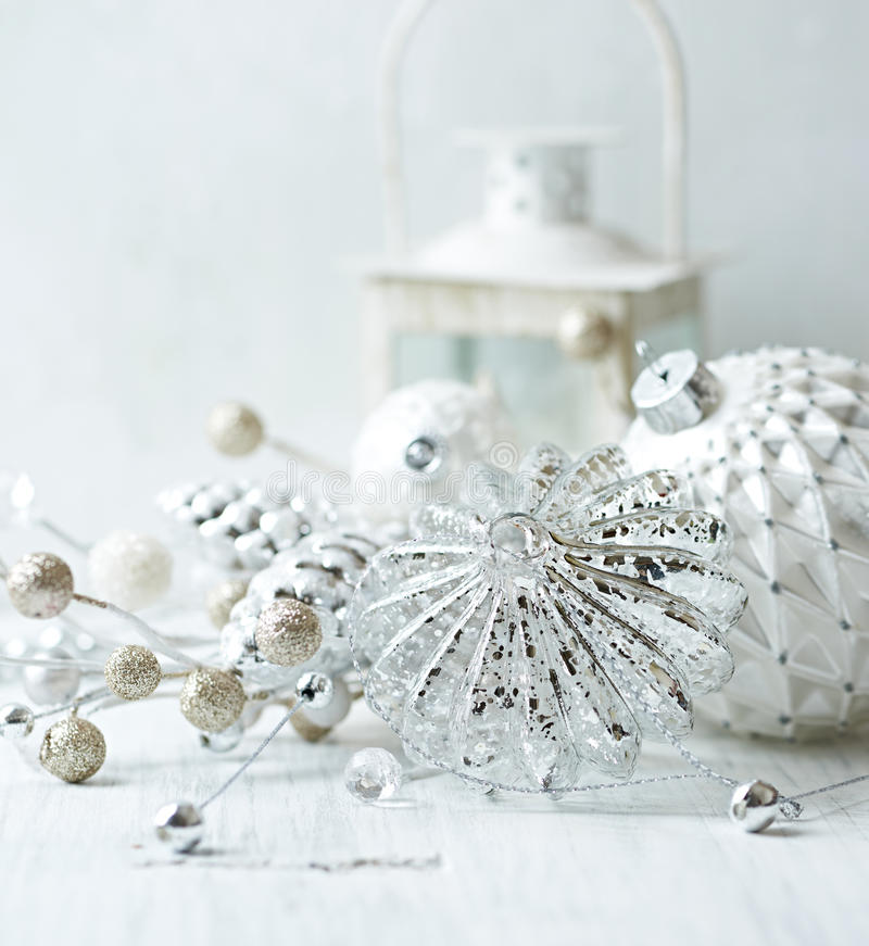 Vintage christmas decorations in white royalty free stock photo
