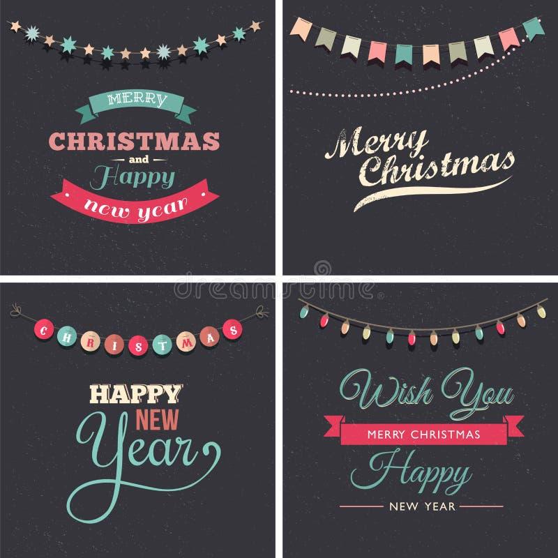 Vintage Christmas design with garlands royalty free illustration