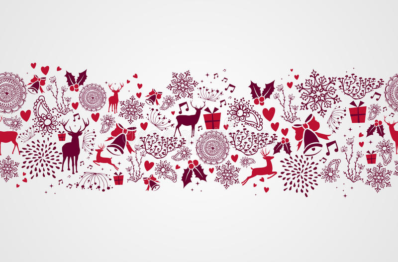 Vintage Christmas elements seamless pattern backgr vector illustration