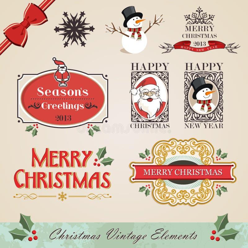 Vintage christmas elements set vector illustration