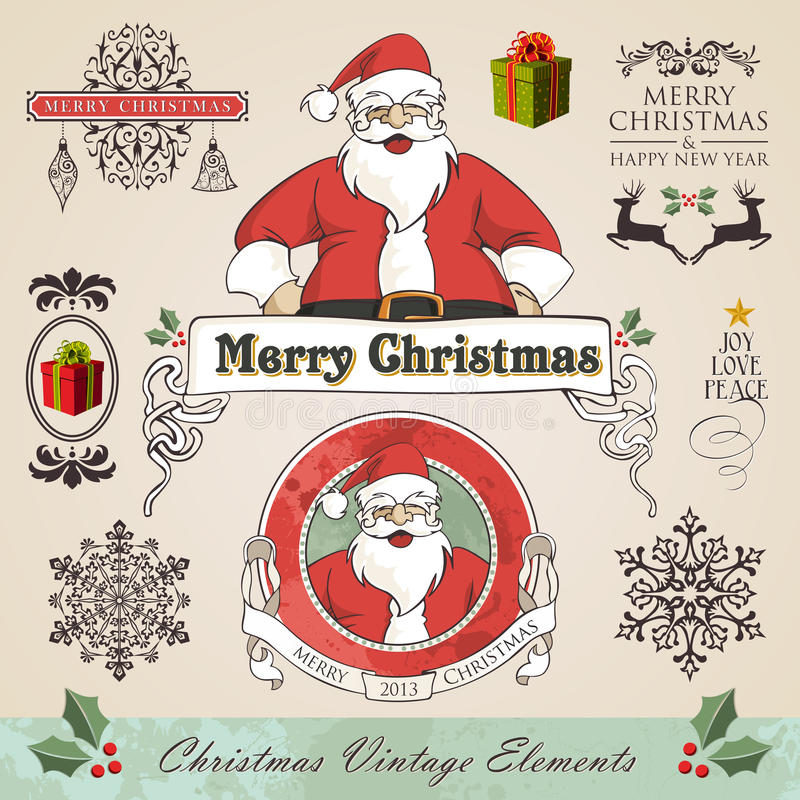 Vintage christmas elements set. Vintage christmas and new year season elements sale set. Vector illustration layered for easy manipulation and custom coloring vector illustration