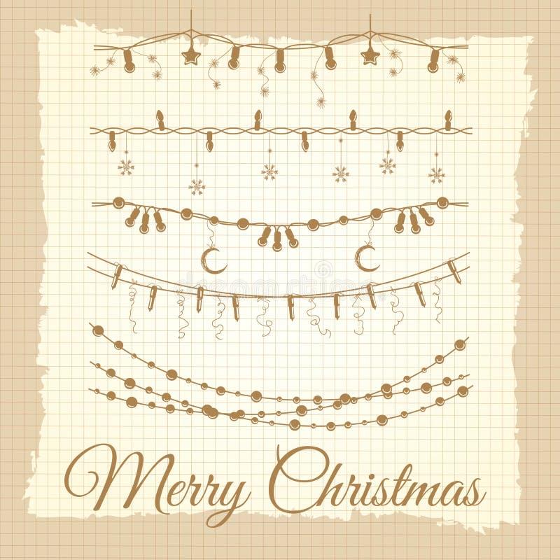 Vintage christmas garland set vector illustration