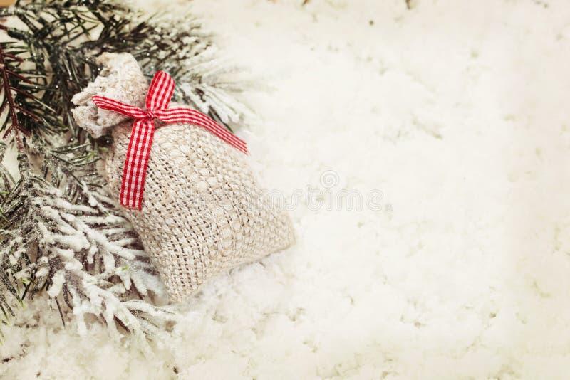 Vintage Christmas gift bag decoration background royalty free stock images
