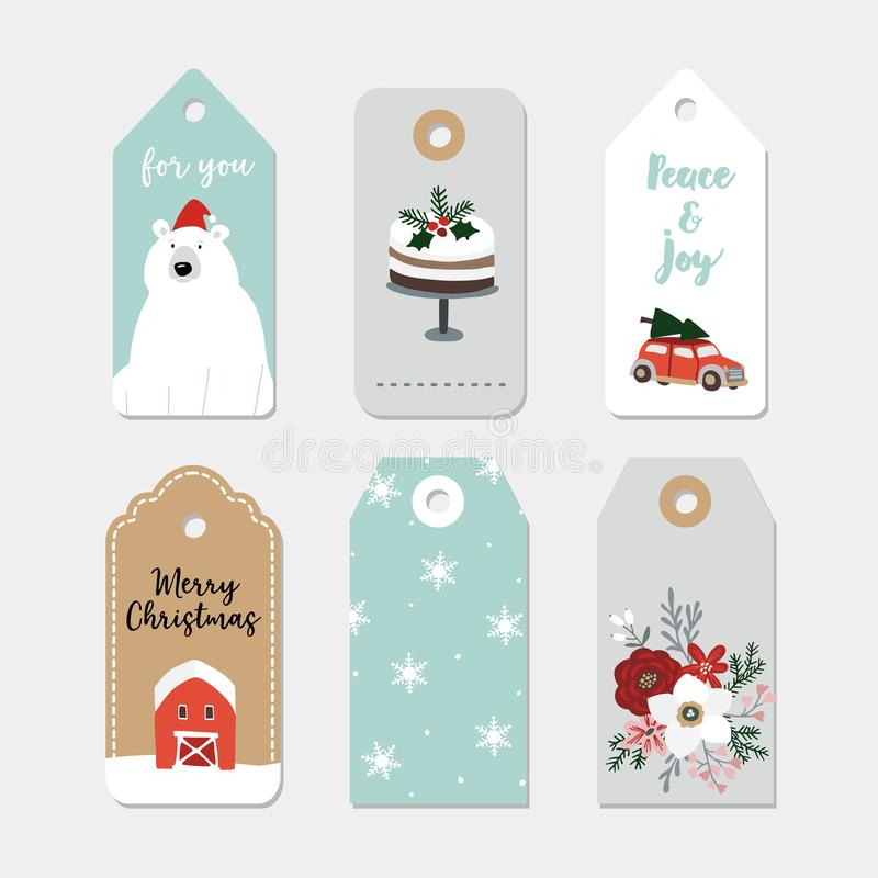 Vintage Christmas gift tags set. Hand drawn labels with winter flowers, cake, car with Christmas tree, polar bear royalty free illustration