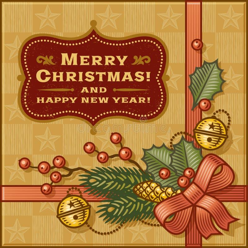 Vintage Christmas Gift vector illustration