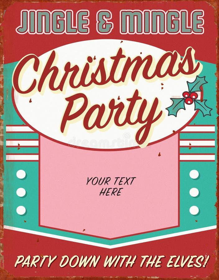 Vintage Christmas Holiday Party Invitation Retro Tin Sign Art Flyer vector illustration