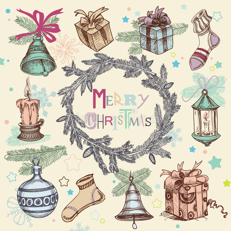 Free Vintage Christmas Illustration Royalty Free Stock Images - 45264419