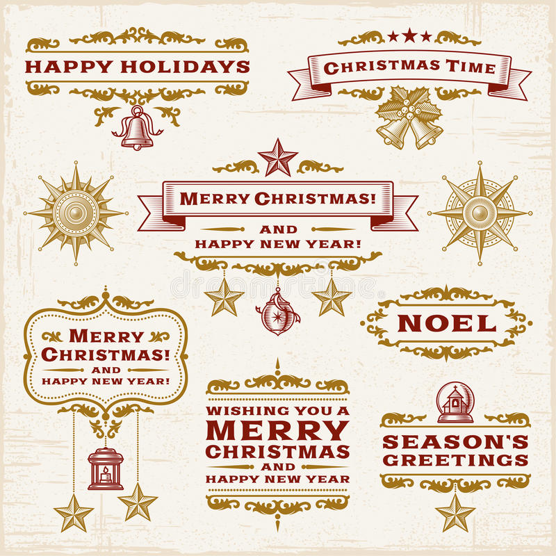 Free Vintage Christmas Labels Royalty Free Stock Photos - 27997238