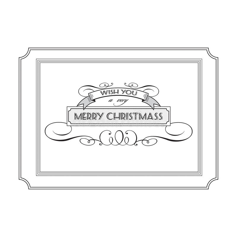 Vintage Christmas logo with the words and wishes. Vector illustration royalty free illustration