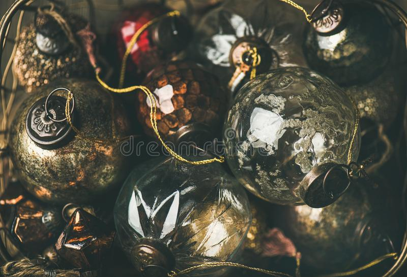 Vintage Christmas or New Year holiday decoration glass balls royalty free stock photography