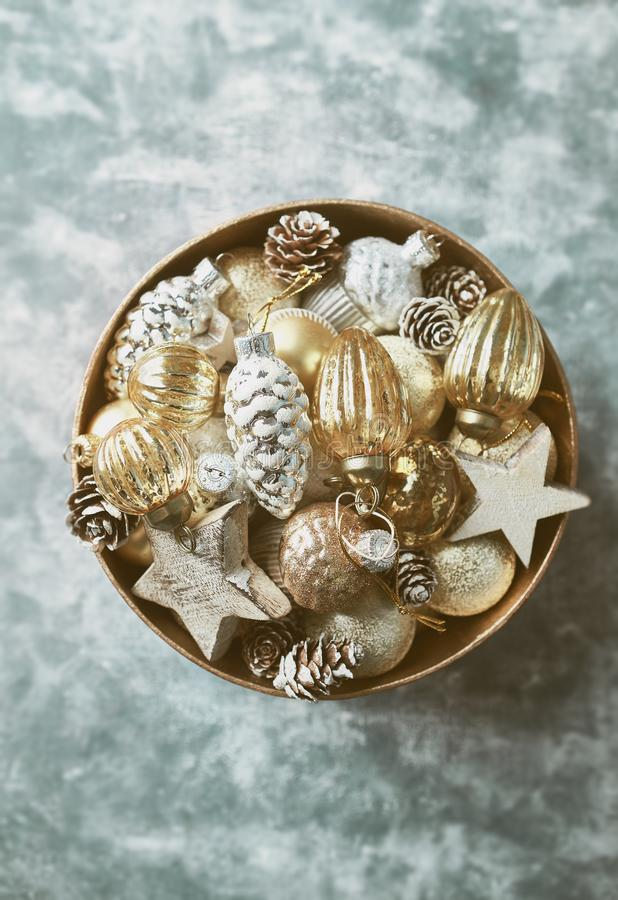 Vintage Christmas ornaments in a gift box royalty free stock photo