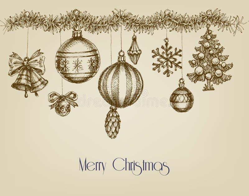 Vintage Christmas ornaments. Hand drawn garland stock illustration