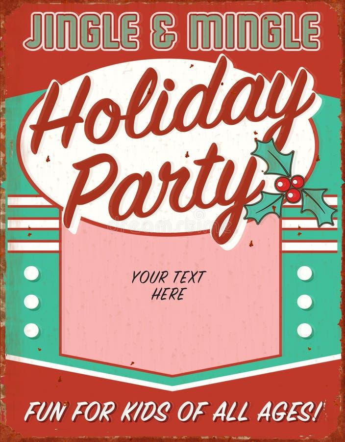 Vintage Christmas Party Invitation Retro Tin Sign Art Flyer royalty free illustration