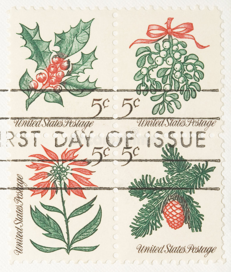 Vintage Christmas Plants Stamp royalty free stock photos