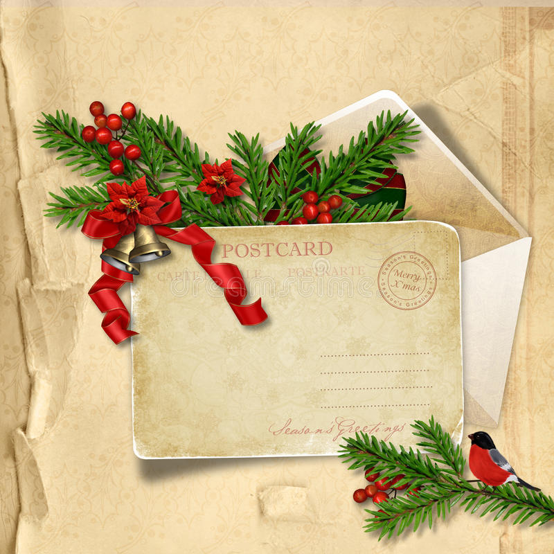 Vintage Christmas postcard on paper background with holly and bu royalty free illustration