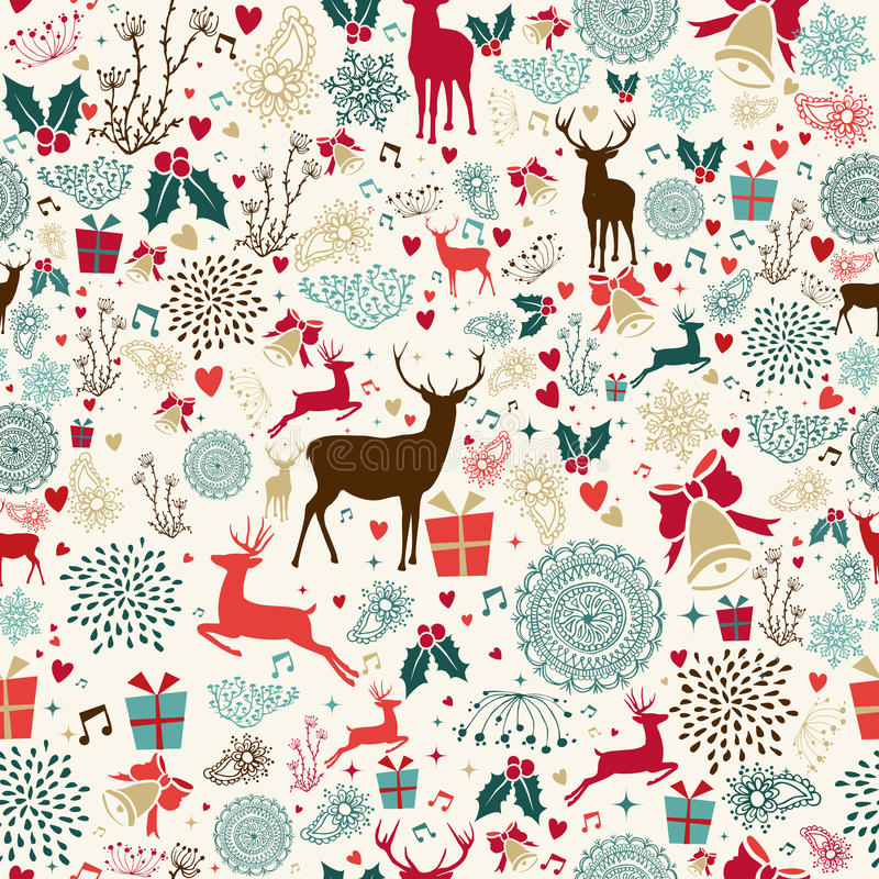 Vintage Christmas reindeer seamless pattern royalty free illustration