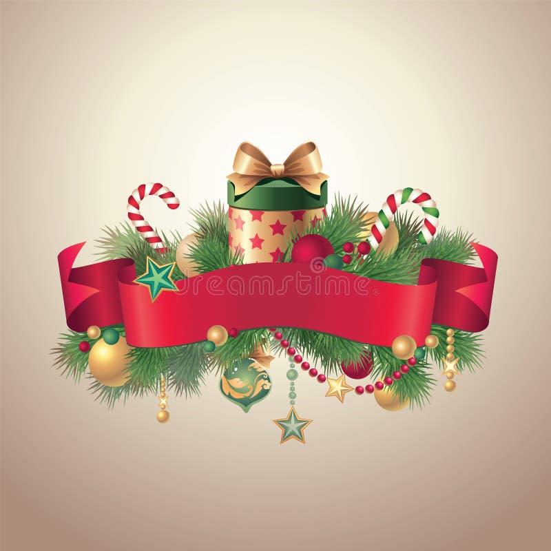 Download Vintage Christmas Ribbon Tag Label Stock Vector - Image: 27979939