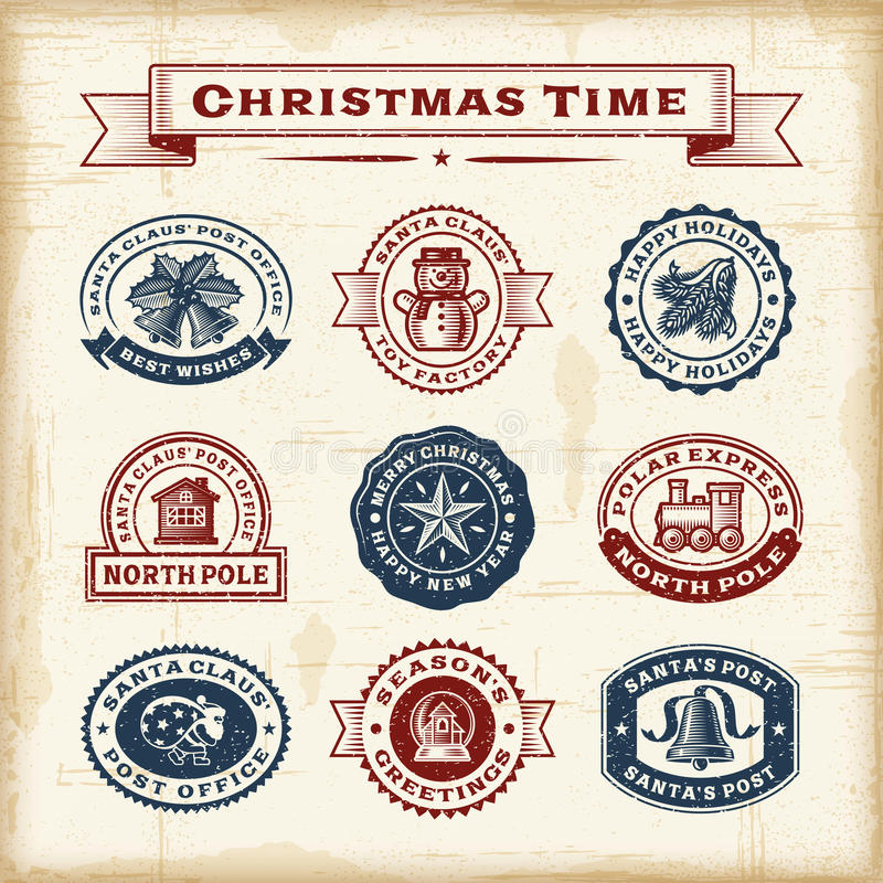 Vintage Christmas stamps set royalty free illustration