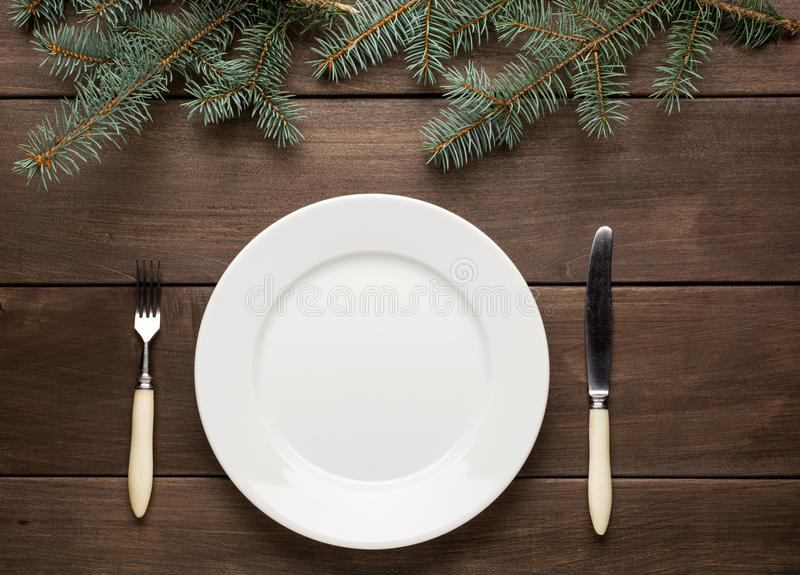 Vintage christmas table setting from above. stock photography