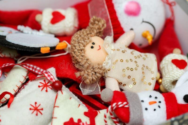 Vintage christmas tree festive felt decorations toys bacground. Winter holiday concept, handmade craft stock image