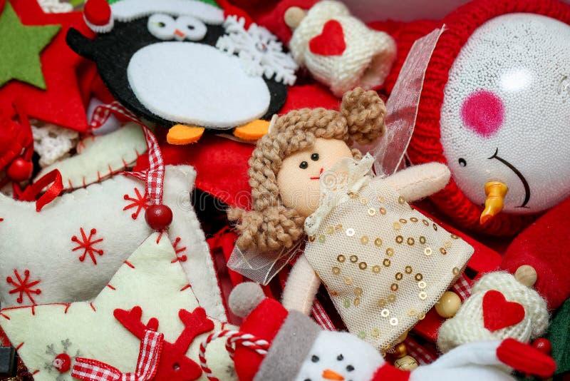 Vintage christmas tree festive felt decorations toys bacground. Winter holiday concept, handmade craft royalty free stock photography