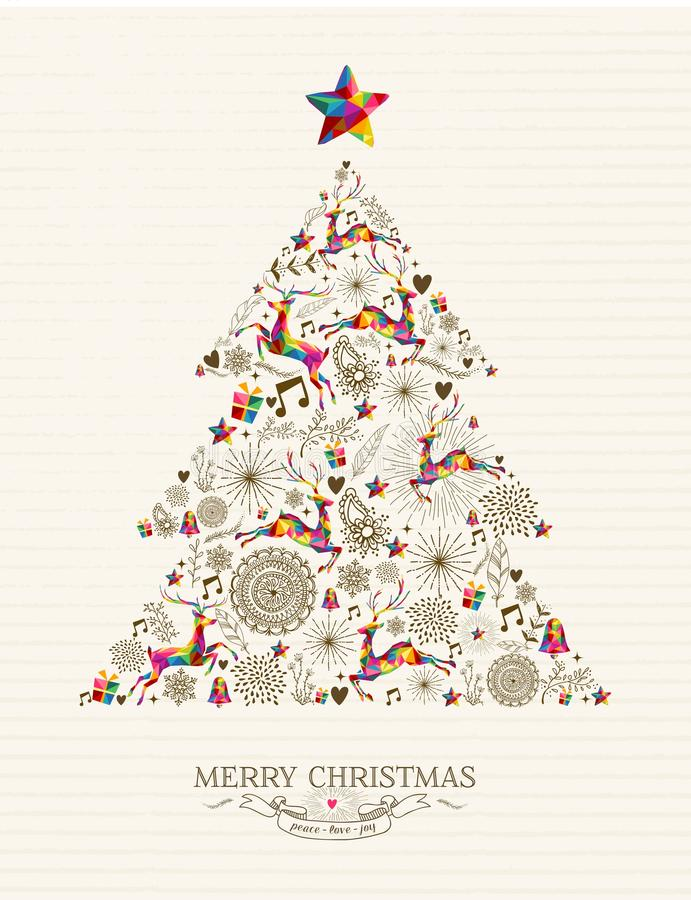 Free Vintage Christmas Tree Greeting Card Royalty Free Stock Photos - 45647858