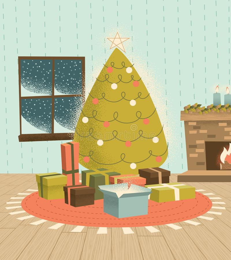 Vintage Christmas Tree with Presents royalty free stock photos