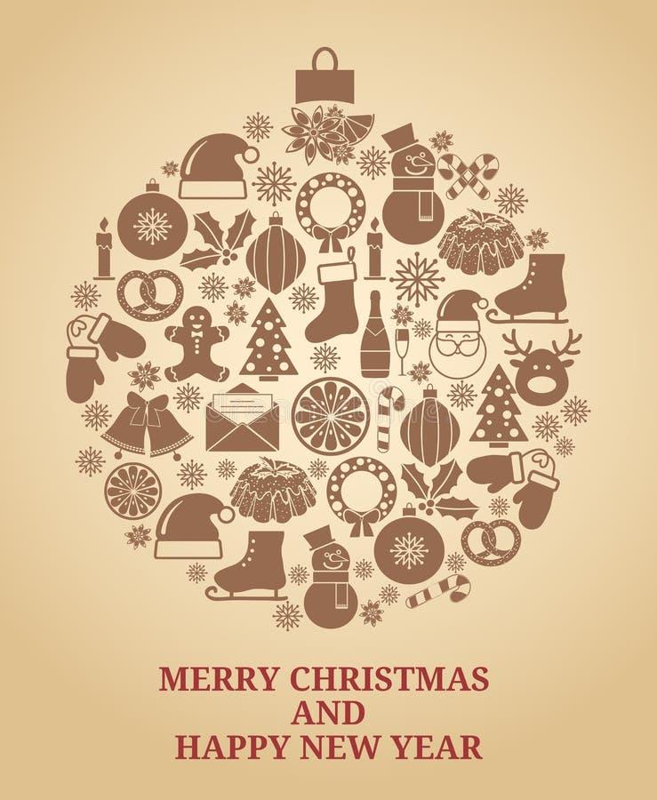 Vintage Christmas tree symbol royalty free illustration