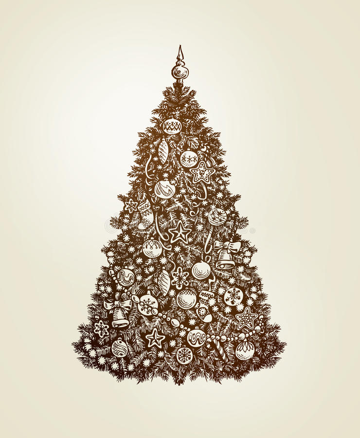 Vintage Christmas tree with xmas decorations. Hand-drawn sketch vector stock illustration