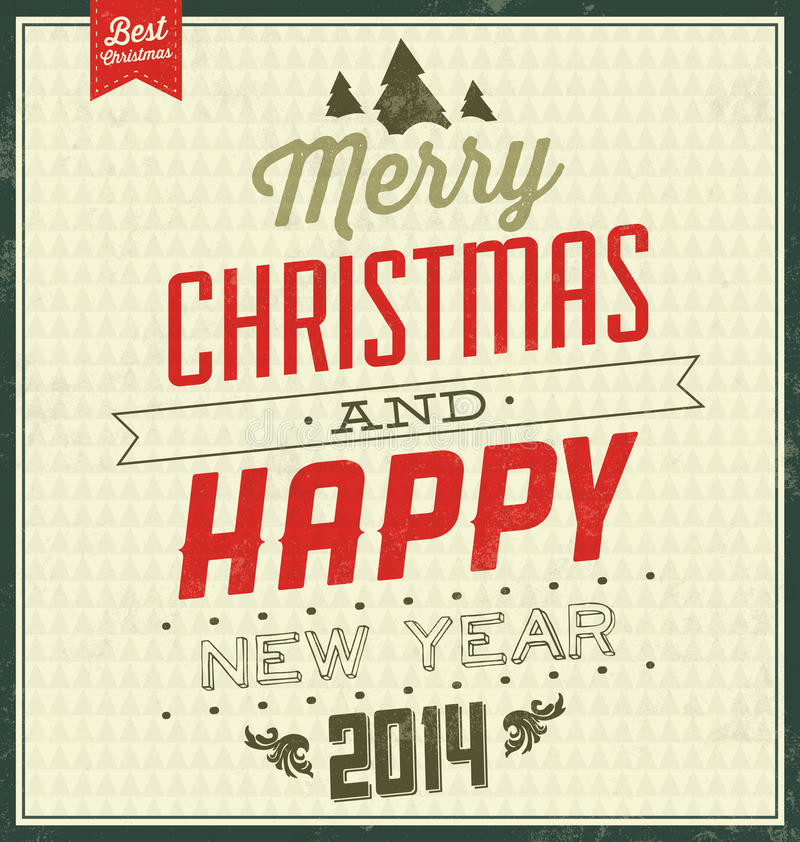 Vintage Christmas Typographic Background - Retro Design royalty free illustration