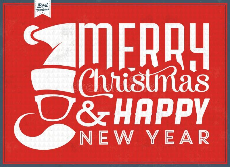 Vintage Christmas Typographic Background - Retro Design vector illustration