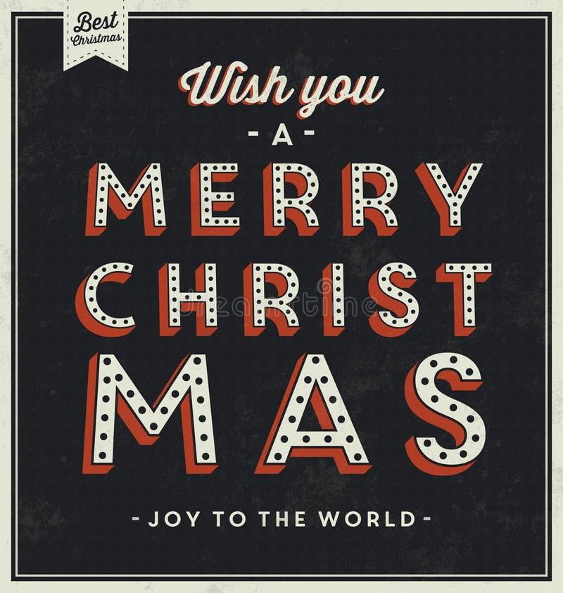 Vintage Christmas Typographic Background stock illustration