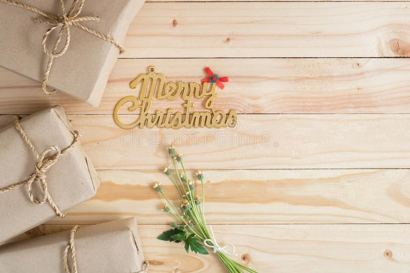 Vintage Christmas wood background with gifts. And copy space royalty free stock photography